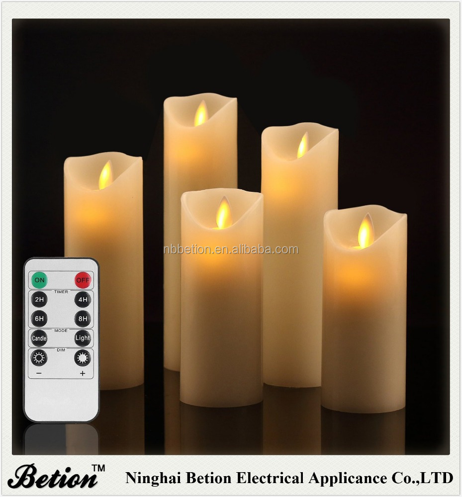 Flameless Candles Flickering Flameless Candles Real Wax Pillar With Moving LED Flame candles with remote control