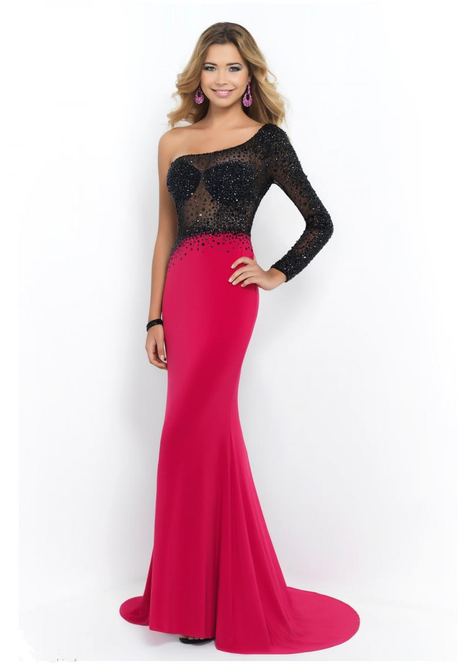 Get Quotations · One Shoulder Long Sleeve beaded See Through Mermaid  Fuschia Prom Dress Vestidos De Festas Longo Vestido 6a79c3487e1e