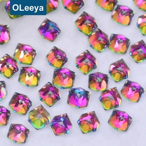 China fancy glass stones 4mm rainbow square crystal rhinestones for art decoration
