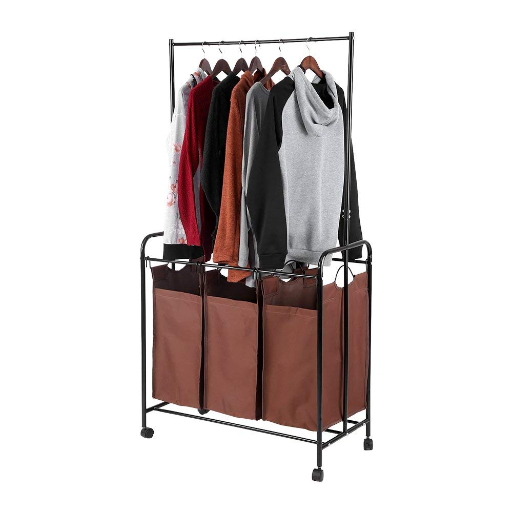 Zerone Laundry Hamper Sorter,Rolling Laundry Cart Detachable Bags Mobile Laundry Sorting Trolley Cart with Clothes Rod (Coffee, 3 Bag)