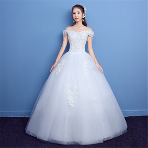 2019 new designs summer Vestidos De Novia off shoulder boat neck beaded sweetheart groom bridal gown wedding dress