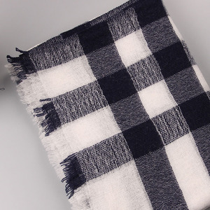 Spring Fall Winter Big Grid 100% Iceland Wool Lattice Blanket Shawl Scarf