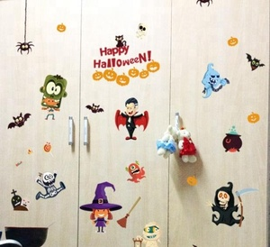OEM halloween set PP Glow in the dark Wall Window Stickers for Decor Gel Window Stickers