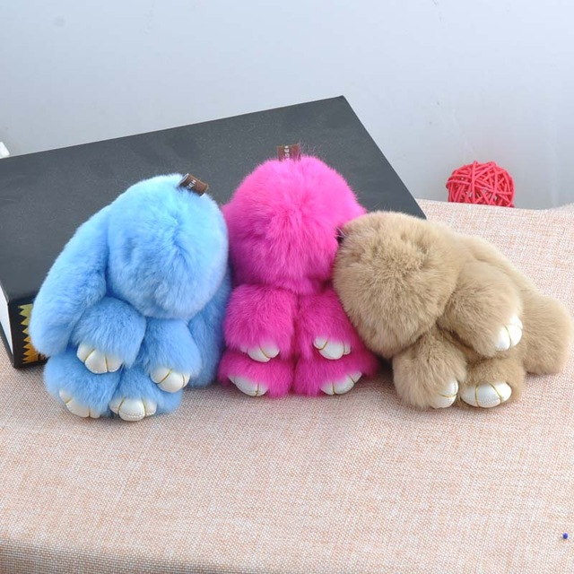 13 colors soft Super cute rabbit fur keychain for Bag Car Key Purse Charm Accessories POMpom Keyring