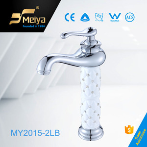 Silvery colored white crystal decorated basin faucet,Higher chrome taps,room design.