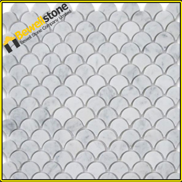 Carrara Marble Mosaic Tile Medium Fish Scale Fan Shaped Tiles Honed
