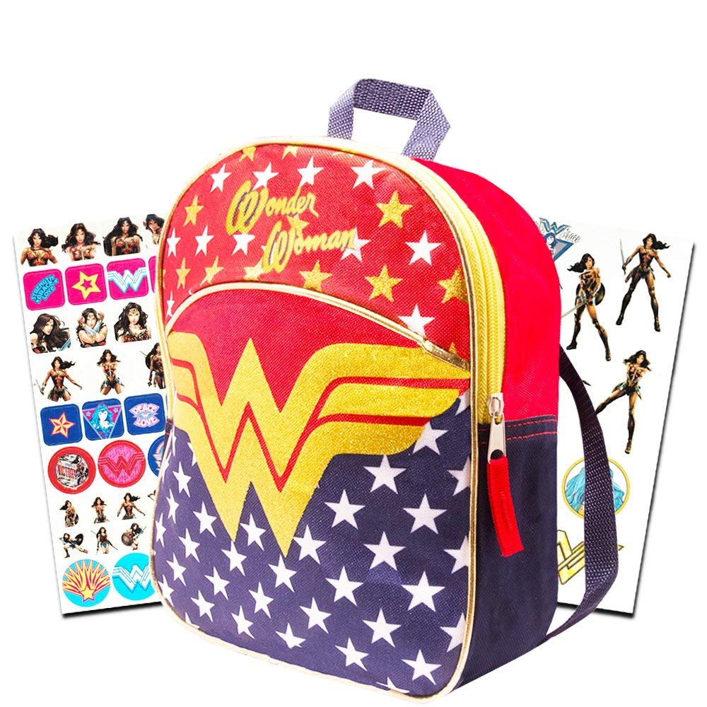 "Wonder Woman Mini Backpack Set -- 11"" Wonder Woman Preschool Toddler Backpack with Glitter Emblem, Stickers and More (Super Hero Girls)"