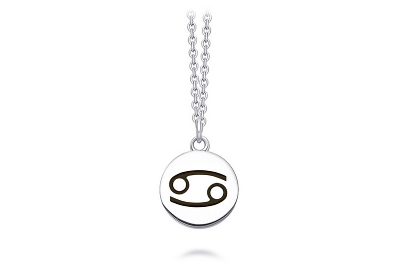 Minimalist jewelry astrology star sign enamel 925 silver zodiac disc pendant