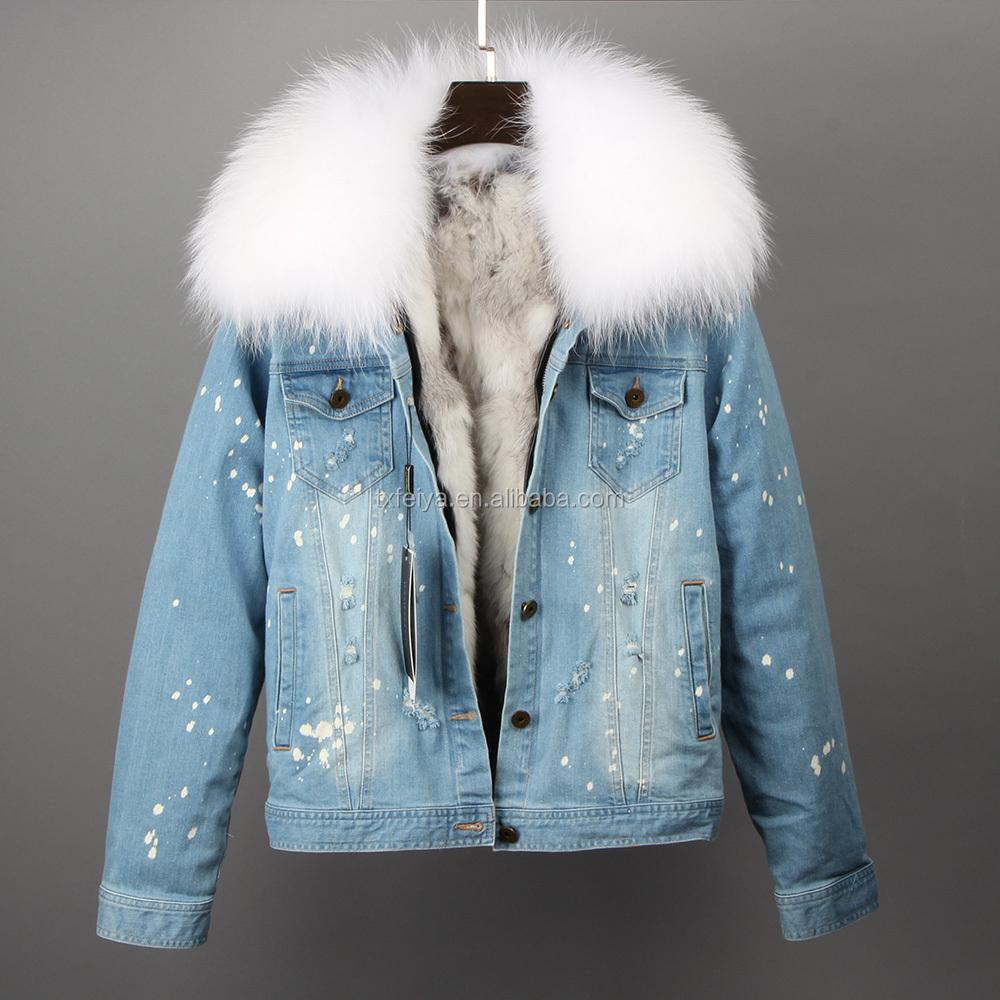 Custom Women Jean Denim Jacket Winter,Latest Fur Jacket Designs,Lady Rabbit  Fur Lined Jean Jacket - Buy Custom Women Jean Denim Jacket Winter,Latest