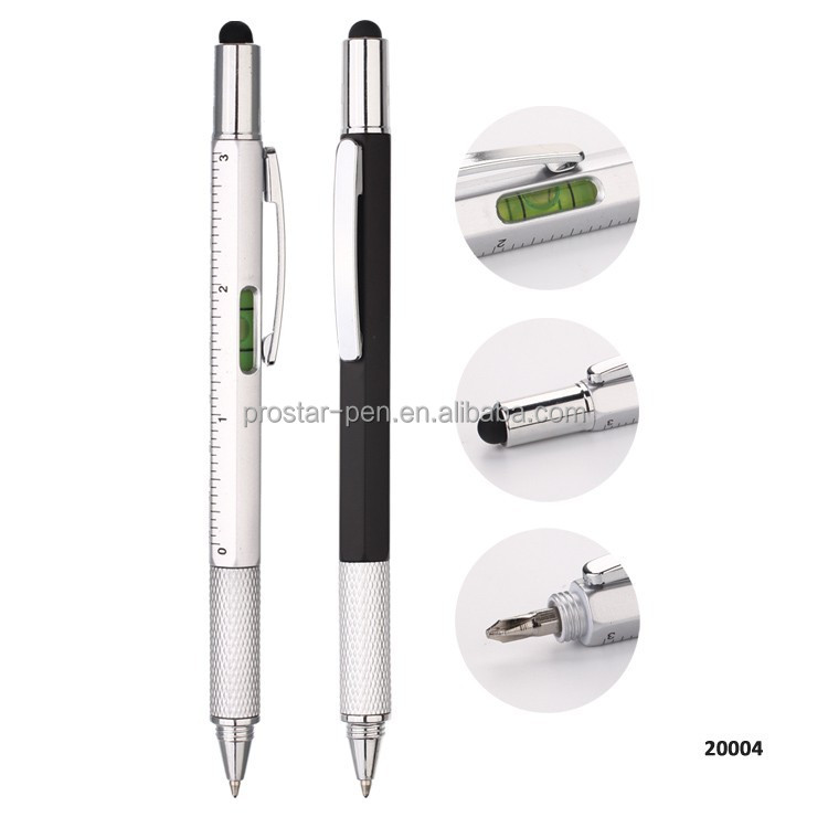 2018 Popular multi function 5 In 1 Gradienter touch stylus screwdriver ruler ballpoint multi tool <strong>pen</strong>