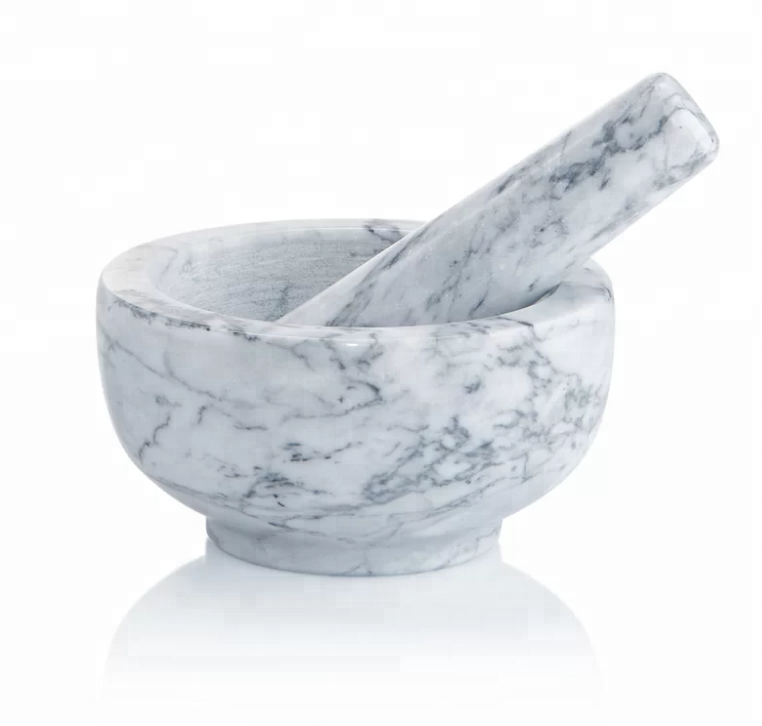 white / grey marble mortar and pestle