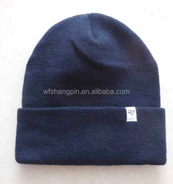 4f865ed00a7 High Quality Plain Black Tight Knitting Beanie Hat with Custom Woven Label
