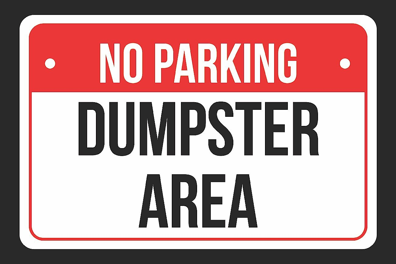 Buy NO Parking Dumpster Area Print Red, White and Black