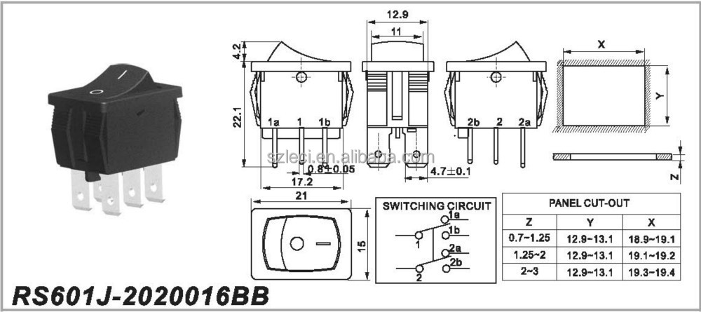 3 position 4 pin 6 pin t125 t85 t120 wippschalter