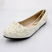 2019 Fashion White Women Wedding Flat Shoes