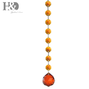 H&D Amber 30mm Crystal Chandelier Ball Hanging with Octagon beads For Home Decoration