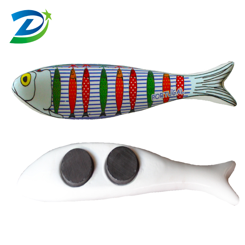 Portugal souvenirs customized fish shape ceramic fridge magnet for souvenir gifts
