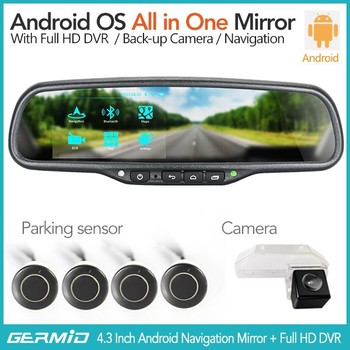4 3 Inch Car Rearview Mirror Gps Android With Dvr Bluetooth Wifi Google Map  Download Google Play Store Backup Camera Display - Buy Rearview Mirror Gps