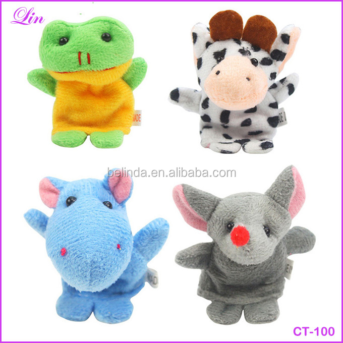 Free Shipping by DHL/<strong>FEDEX</strong>/SF Cute Cartoon Biological Animal Finger Puppet Plush Dolls