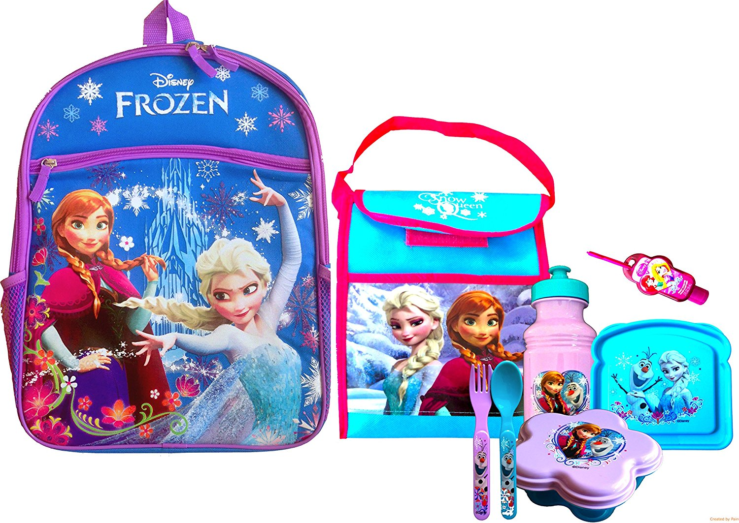 Disney Frozen Disneyland Backpack Survival Kit Variations Every Variation Inlcludes the General 3 Piece Lunch Set with Handy Clip-on Hand Sanitizer Disney Frozen Pull-top Water Bottle , Sandwich and Snack Container (BLUE PACK WITH NON WOVEN VERTICAL BAG)