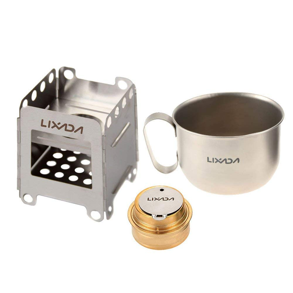 Lixada Camping Stove,Stainless Steel Folding Wood Stove Alcohol Burner Pocket Stove 550ml Mug Titanium Cup for Outdoor Camping Cooking Picnic(Optional)
