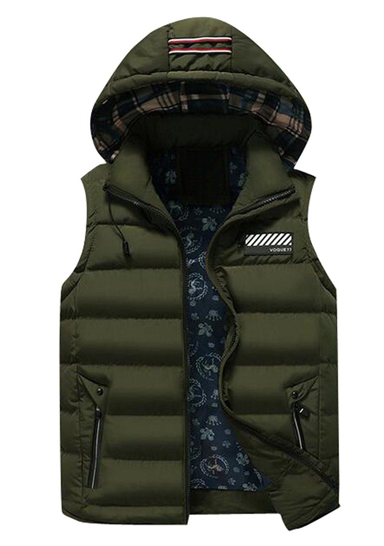 eab04345d6b Get Quotations · Vska Mens Winter Hooded Packable Down Vest Quilted Vest  Jacket