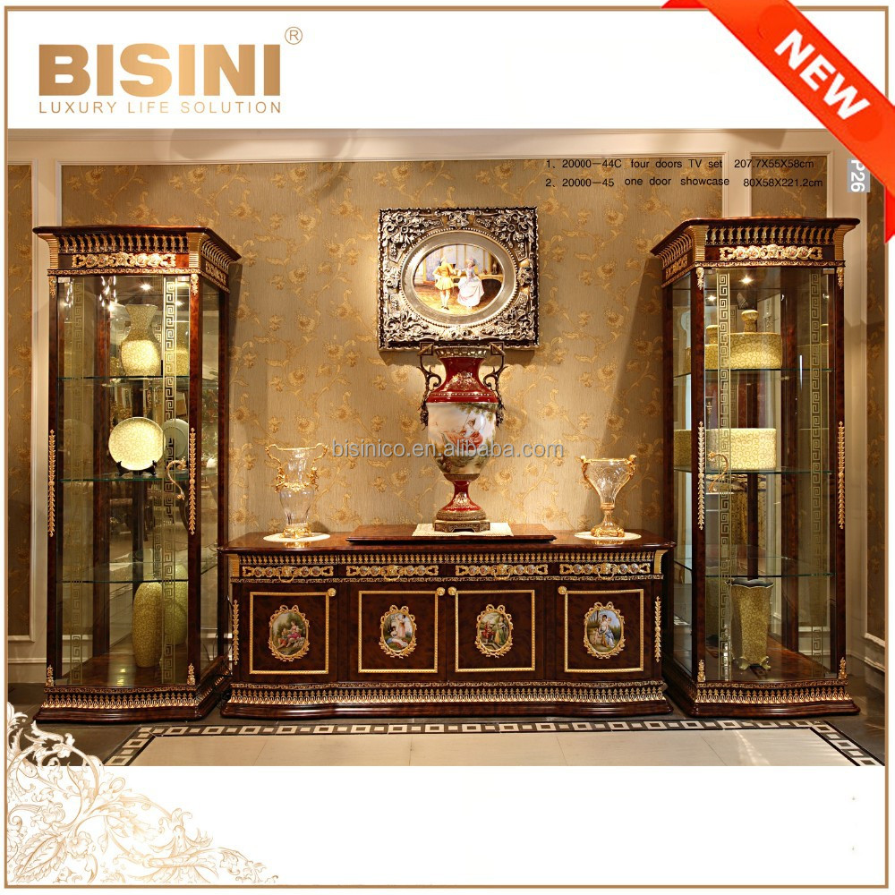 French baroque furniture - Luxury French Baroque Style Living Room Single Door Display Cabinet European Golden Brass Decorated Display Case Glass Vitrine Buy French Wooden Vitrine