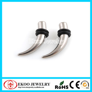 316L Surgical Steel Curved Taper with O-Rings Ear Taper