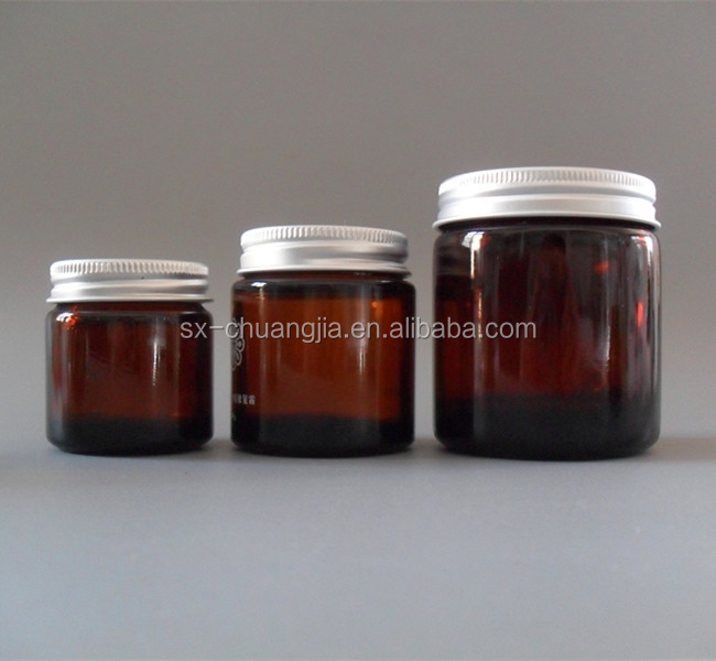 cosmetic amber cylinder cream glass jar with aluminium lid