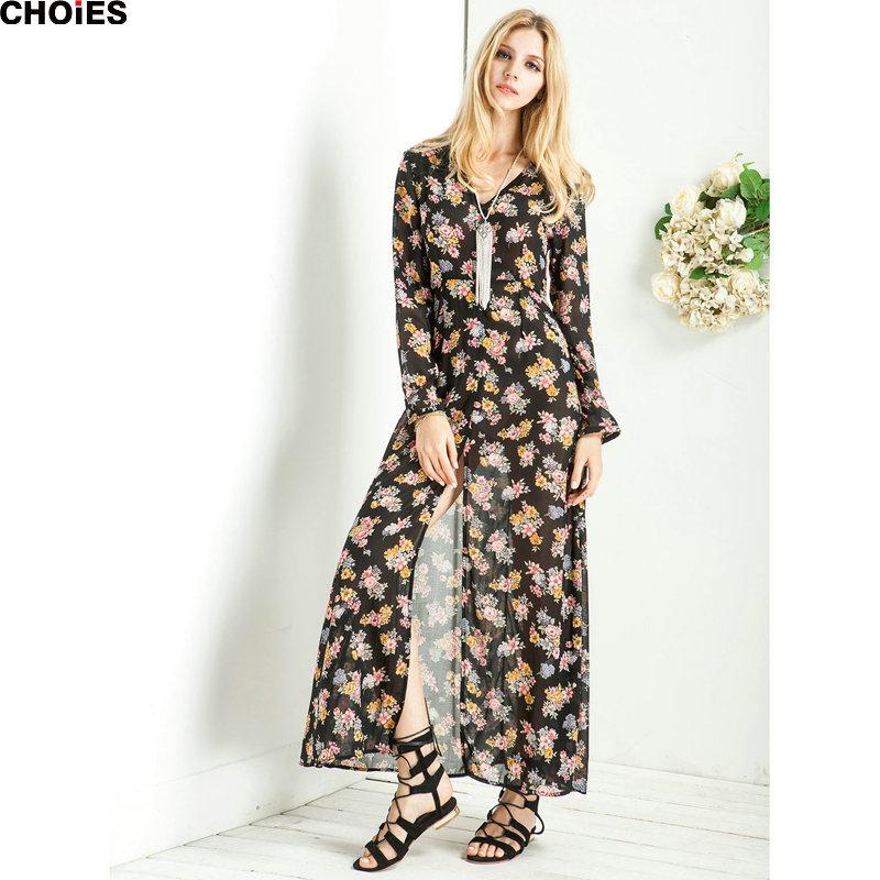 d42344021d415 Get Quotations · CHOIES Dresses 2015 Women Summer Autumne Black Long Sleeve  Chiffon Boho Floral Print V Neck Split