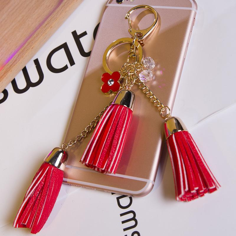 New design leather/suede fringe tassels keychain for shoes/bags