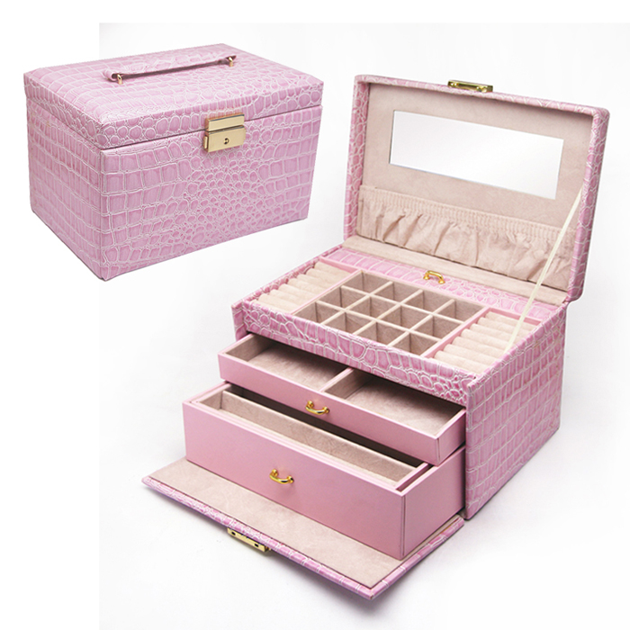 Pu Leather Purple Jewelry Organizer Box With Make Up Vanity Mirror