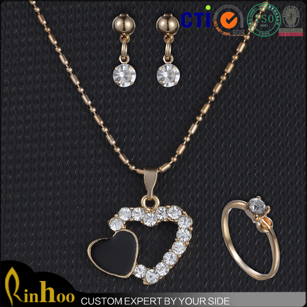 2015 vogue wedding jewelry sets with double heart pendant necklace +diamond wedding rings+tiny diamond earrings jewelry sets