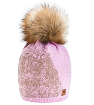 Gold Womens Girls Winter Fleece Hat Wool Knitted Beanie with Large Fur Pom  Pom Cap 10f6f72179f