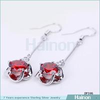 New fashion jewelry making supplies red zircon earrings