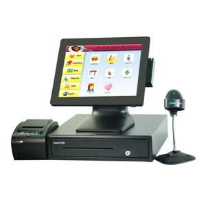 15'' Flat Capacitive Pos System Touch Screen Pos all in one With Receipt Printer With 410mm Cash Register barcode scanner