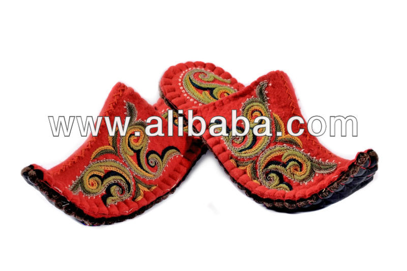 Felt Mongolian Slipper Wife Children Gift Wool Craft House Shoes