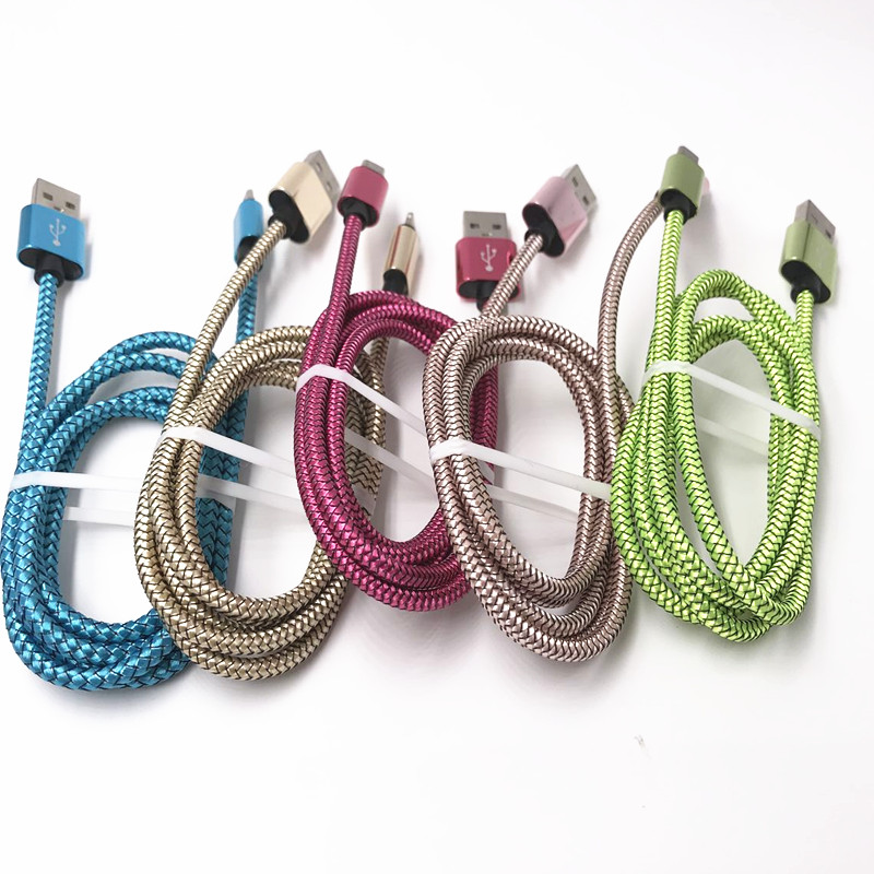 High Brand super durable Braided nylon mini usb Charging cable for Android and iPhone Power Charger Cable