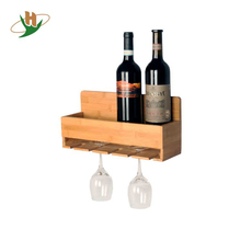 Wall mounted holder storage bamboo hanging wine glass rack