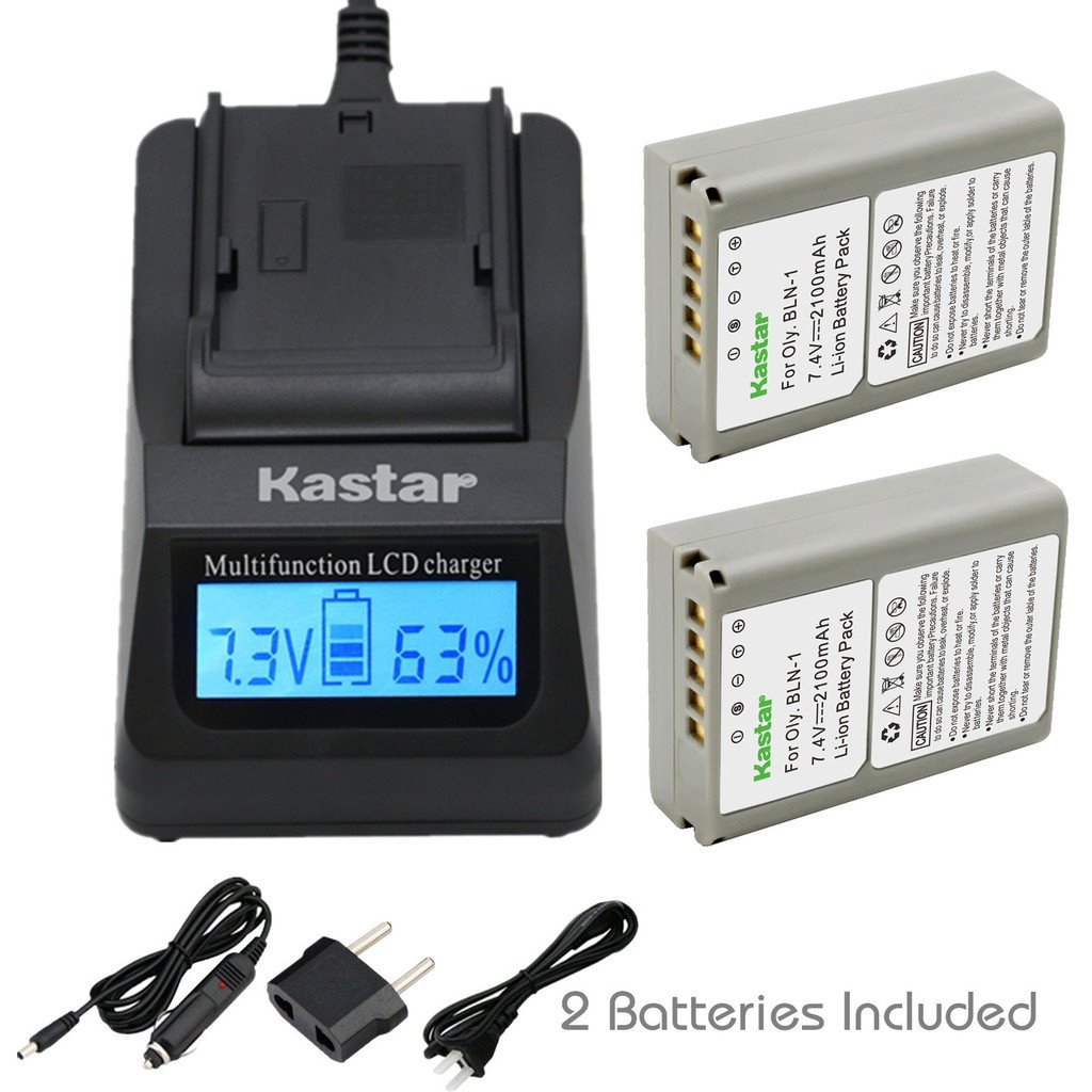 Kastar Ultra Fast Charger(3X faster) Kit and Battery (2-Pack) for Olympus BLN-1, BCN-1, BLN1 and Olympus OM-D E-M1, OM-D E-M5, PEN E-P5 Digital Cameras [Over 3x faster than a normal charger with portable USB charge function]