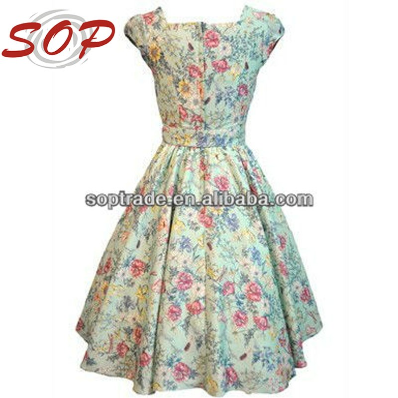 Plus Size Cap Sleeve Nice Woman Fashion Vintage Swing Dress Hepburn Style
