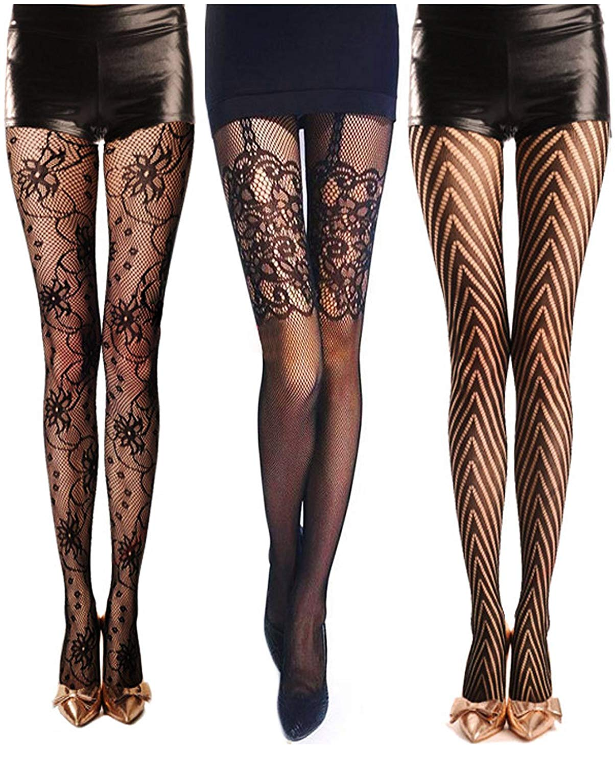 36db3b525 Get Quotations · Dopeme Womens Sexy Fishnet Tights Hosiery Extended Sizes  (Pack of 3)