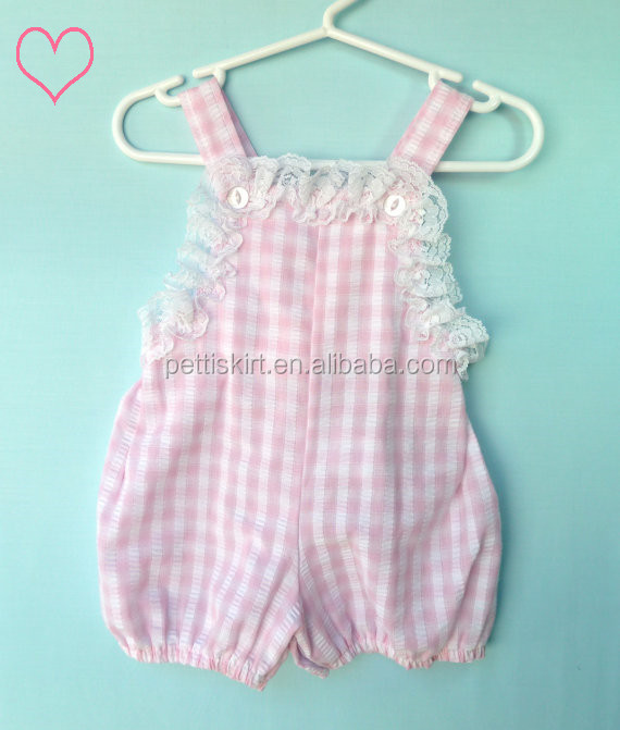 00175885c clothing manufacturers shanghai wholesale toddler baby plain gingham with  lace trim romper baby clothes