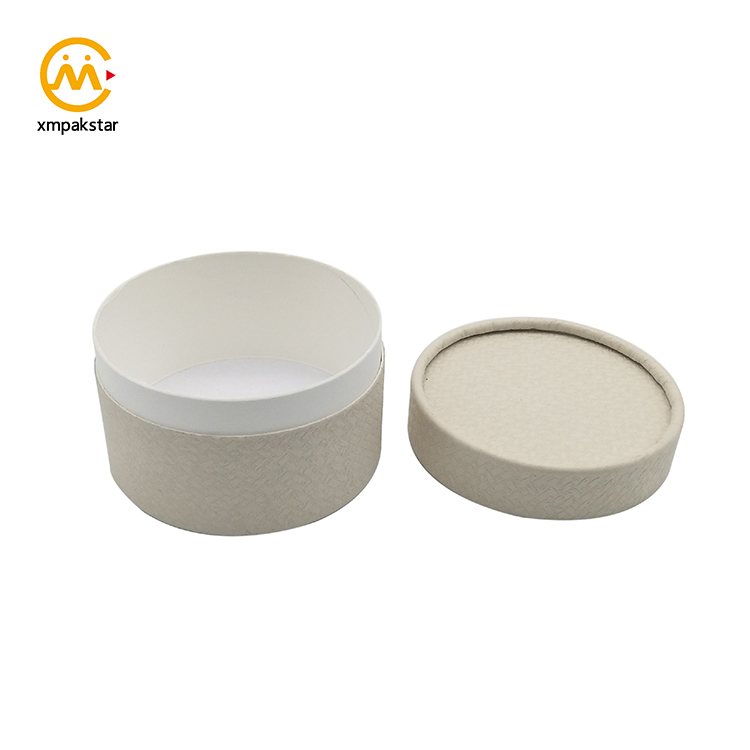 Custom printing brown Kraft cardboard cylinder round paper cosmetic box for face cream packaging