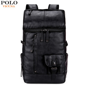 VICUNA POLO High Capacity Large Bag Wholesale Hot Selling Product Fashion Black Leather Men Travel Backpack