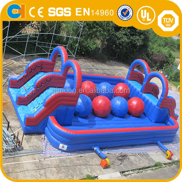 4 Big Red Balls Inflatable Wipeout Game , Big Baller Game for Sale
