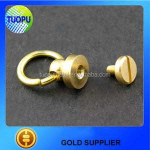 TUOPU DIY Solid Head Button Brass Stud,6 mm Screwback Screw Brass Stud for Purse Handbag