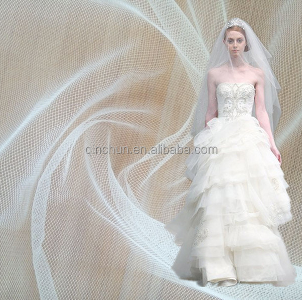 pure white extra width 300cm a little stiff <strong>nylon</strong> netting veil tulle fabric