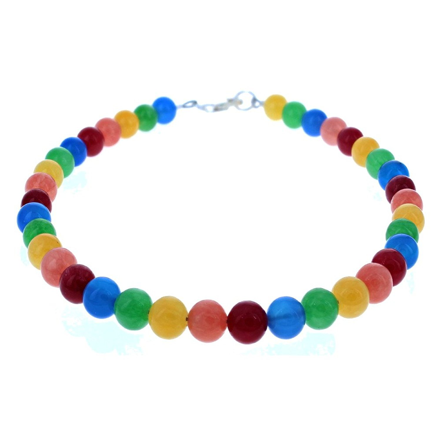 Timeless-Treasures Ladies Multi Color Agate, Blue Onyx & Sterling Silver Beaded Gemstone Anklet
