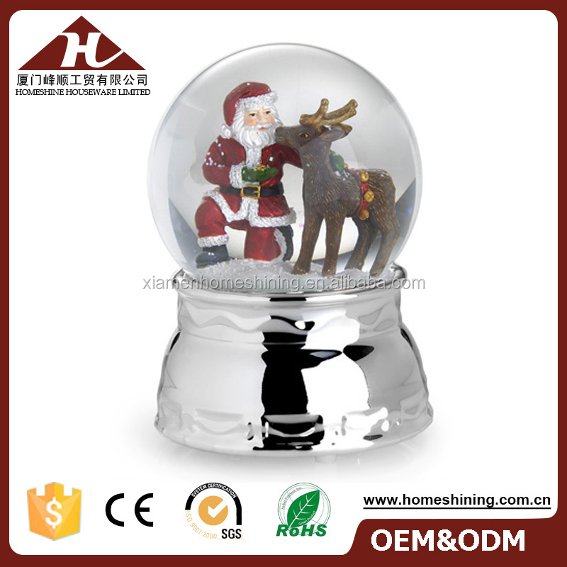 high quality xmas figurines snowglobe metal base